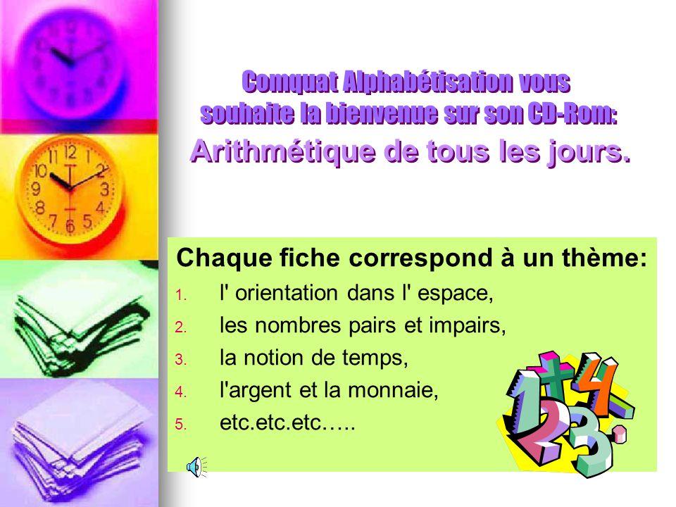 Comquat Alphabétisation vous souhaite la bienvenue sur son CD-Rom: Arithmétique de tous les jours. Ce programme vous permettra par le biais d'exercice