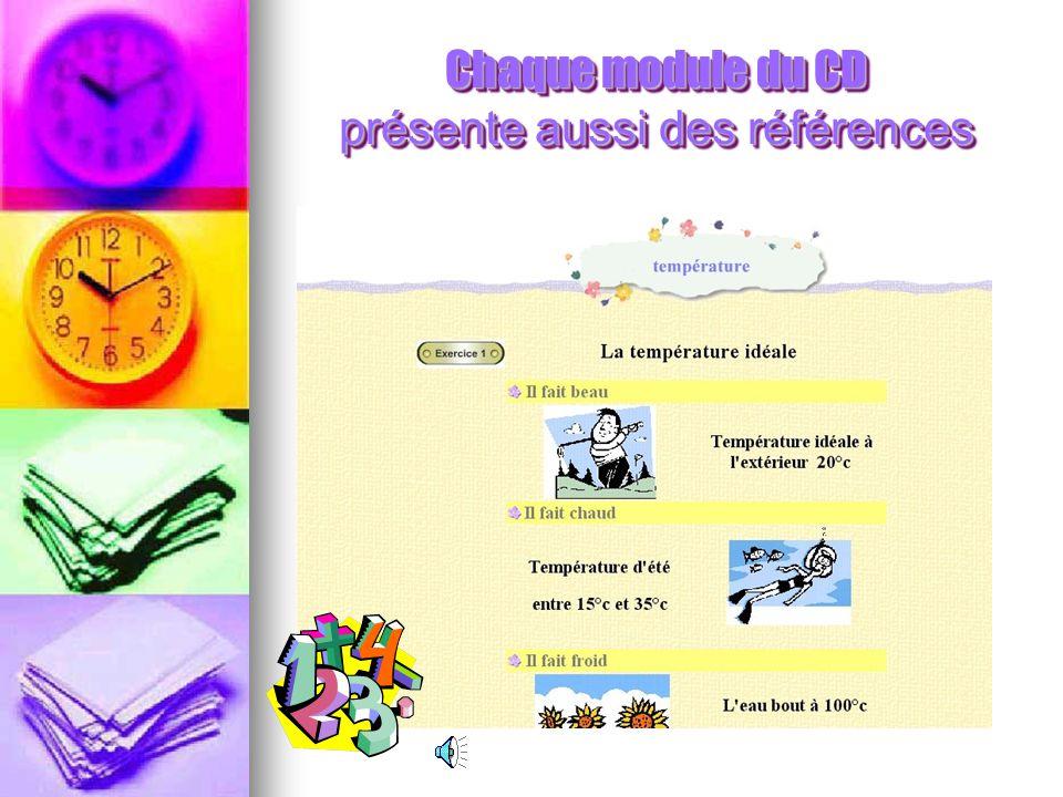 Chaque module du CD présente aussi des références