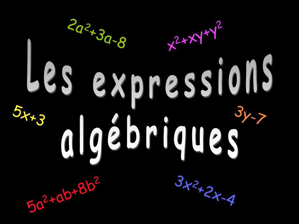 Les expressions algébriques 3x 2 +2x-4 5x+3 x 2 +xy+y 2 2a 2 +3a-8 3y-7 5a 2 +ab+8b 2