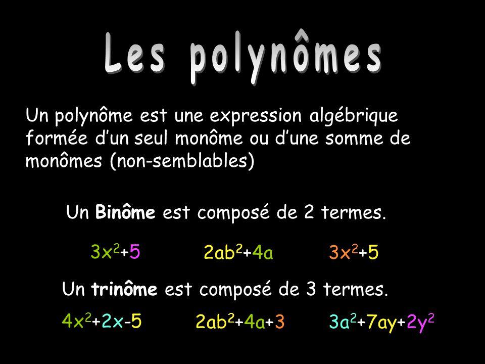 Les polynômes Un Binôme est composé de 2 termes. 3x 2 +5 2ab 2 +4a3x 2 +5 Un trinôme est composé de 3 termes. 4x 2 +2x-5 2ab 2 +4a+33a 2 +7ay+2y 2 Un