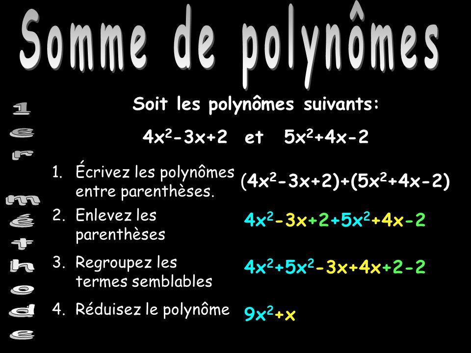Somme de polynômes Soit les polynômes suivants: 4x 2 -3x+2 et5x 2 +4x-2 (4x 2 -3x+2)+(5x 2 +4x-2) 1.Écrivez les polynômes entre parenthèses. 4x 2 -3x+