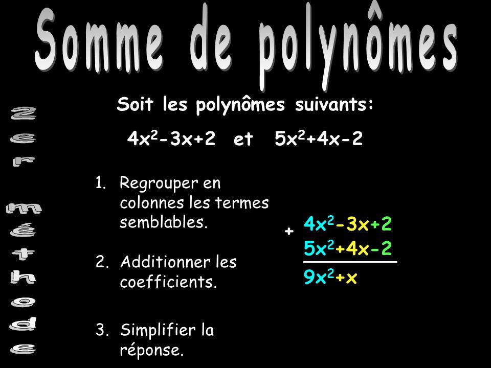 Somme de polynômes Soit les polynômes suivants: 4x 2 -3x+2 et5x 2 +4x-2 4x 2 -3x+2 9x 2 +x 1.Regrouper en colonnes les termes semblables. 2.Additionne