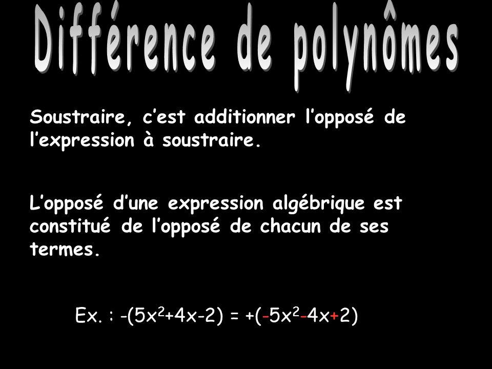 Différence de polynômes Soustraire, cest additionner lopposé de lexpression à soustraire. Ex. : -(5x 2 +4x-2) = +(-5x 2 -4x+2) Lopposé dune expression