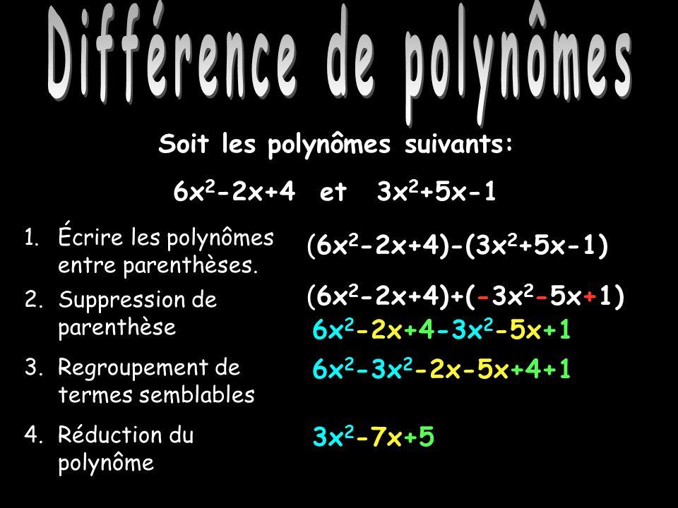 Différence de polynômes Soit les polynômes suivants: 6x 2 -2x+4 et3x 2 +5x-1 1.Écrire les polynômes entre parenthèses. 2.Suppression de parenthèse 3.R