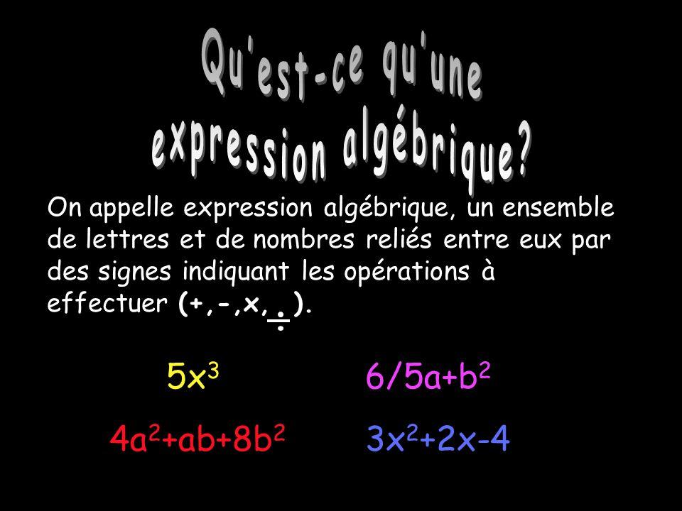 Quest-ce quune expression algébrique? 3x 2 +2x-4 5x 3 6/5a+b 2 4a 2 +ab+8b 2 On appelle expression algébrique, un ensemble de lettres et de nombres re