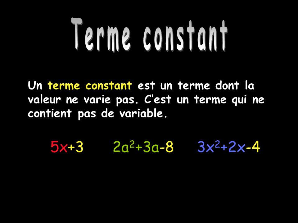 Terme constant Un terme constant est un terme dont la valeur ne varie pas. Cest un terme qui ne contient pas de variable. 3x 2 +2x-45x+32a 2 +3a-8