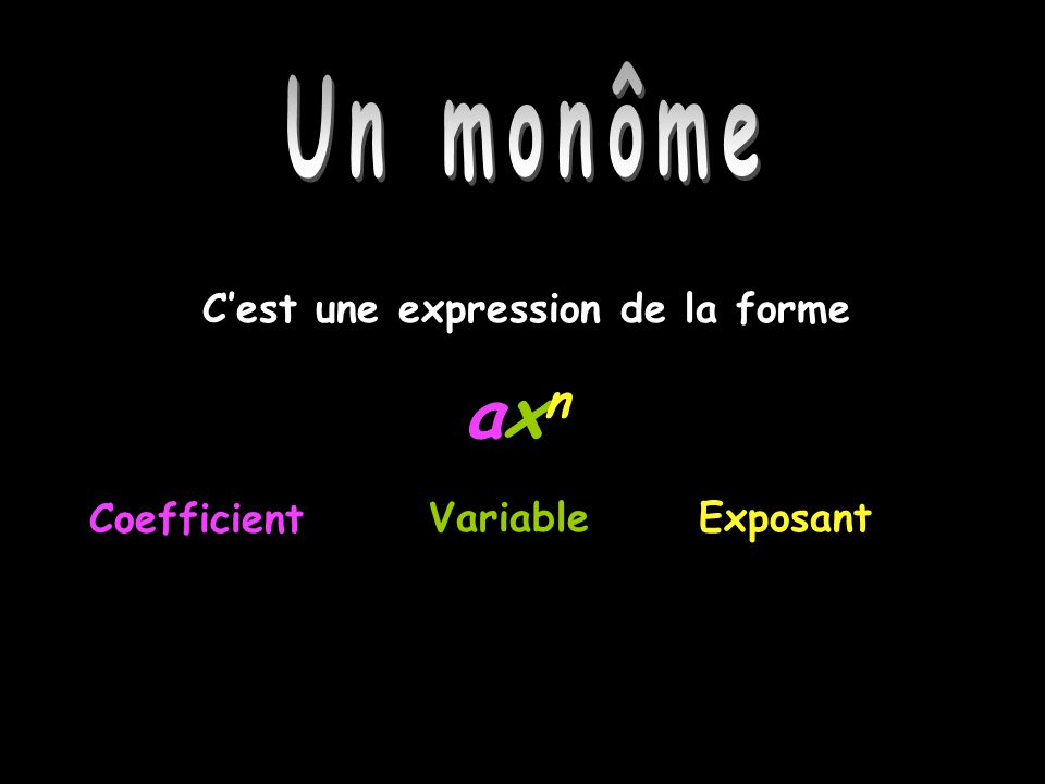 Un monôme Cest une expression de la forme axnaxn CoefficientVariableExposant