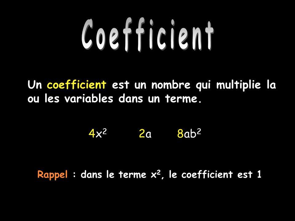 Coefficient Un coefficient est un nombre qui multiplie la ou les variables dans un terme. 4x 2 2a 8ab 2 Rappel : dans le terme x 2, le coefficient est