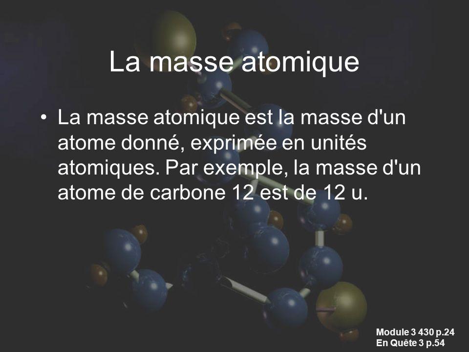 La masse atomique La masse atomique est la masse d'un atome donné, exprimée en unités atomiques. Par exemple, la masse d'un atome de carbone 12 est de