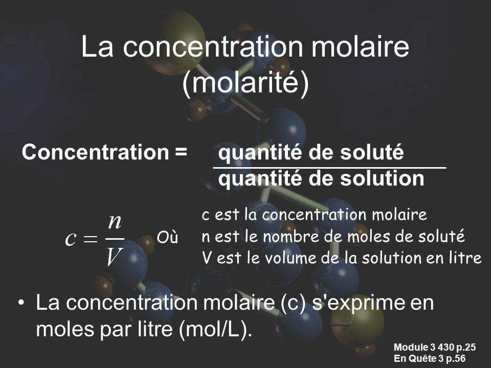 La concentration molaire (molarité) La concentration molaire (c) s'exprime en moles par litre (mol/L). Concentration = quantité de soluté quantité de