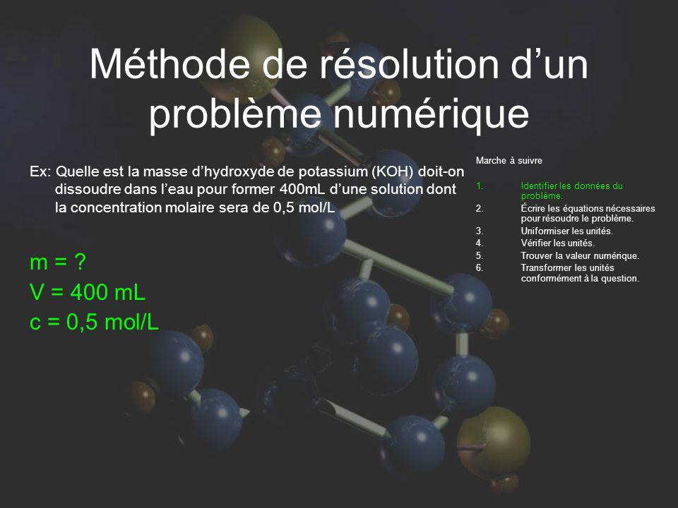 Méthode de résolution dun problème numérique Ex: Quelle est la masse dhydroxyde de potassium (KOH) doit-on dissoudre dans leau pour former 400mL dune solution dont la concentration molaire sera de 0,5 mol/L Marche à suivre Identifier les données du problème.