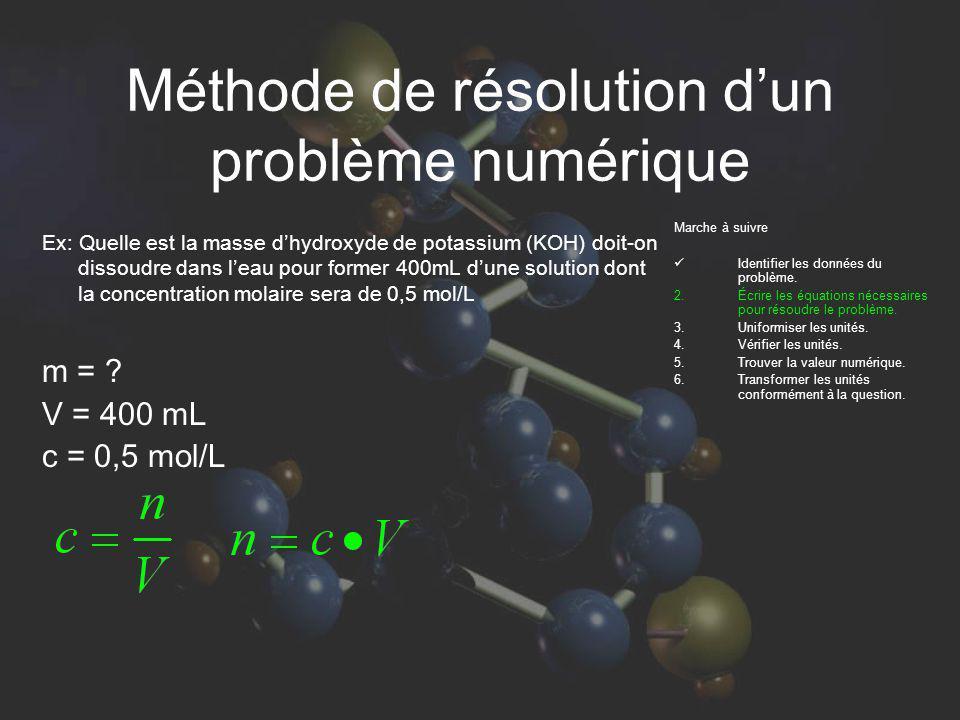 Méthode de résolution dun problème numérique Ex: Quelle est la masse dhydroxyde de potassium (KOH) doit-on dissoudre dans leau pour former 400mL dune solution dont la concentration molaire sera de 0,5 mol/L m = .