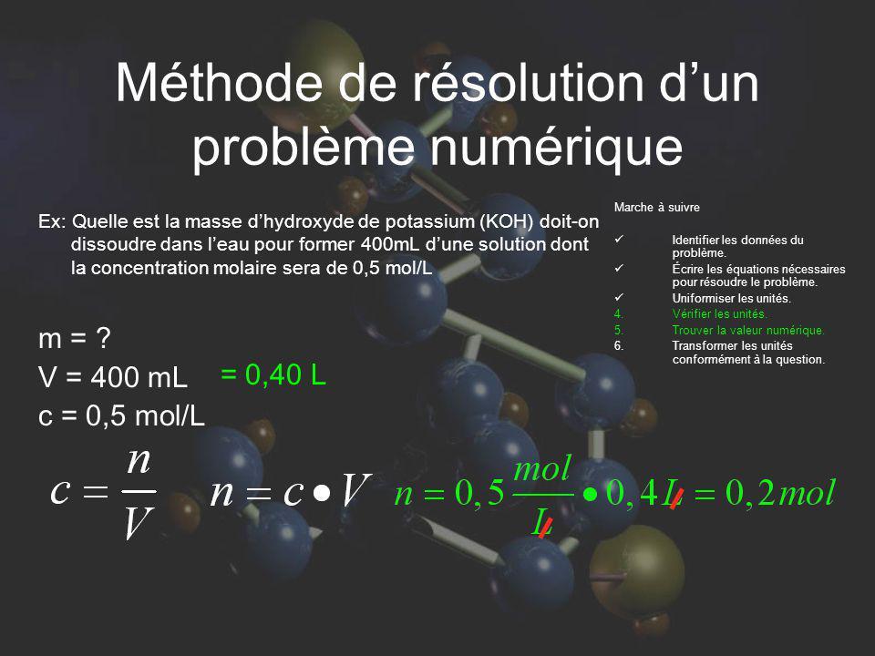 Méthode de résolution dun problème numérique Ex: Quelle est la masse dhydroxyde de potassium (KOH) doit-on dissoudre dans leau pour former 400mL dune solution dont la concentration molaire sera de 0,5 mol/L 1mole de KOH = 56 g 0,2mole de KOH = x g Marche à suivre Identifier les données du problème.