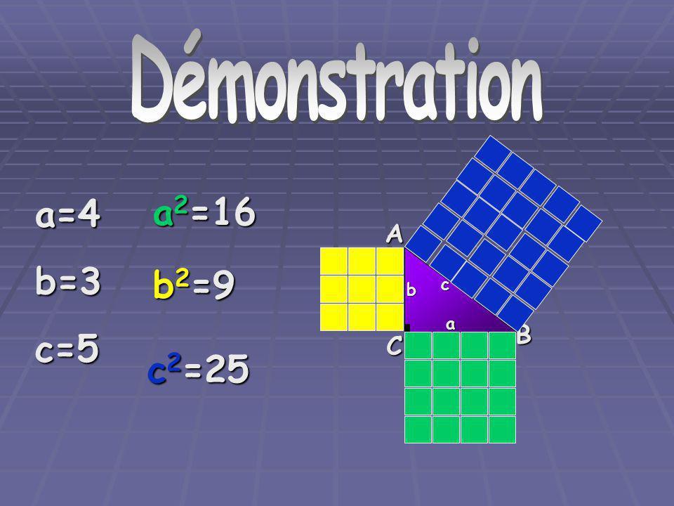 DémonstrationA C B a b c a=4b=3c=5 a 2 =16 b 2 =9 c 2 =25