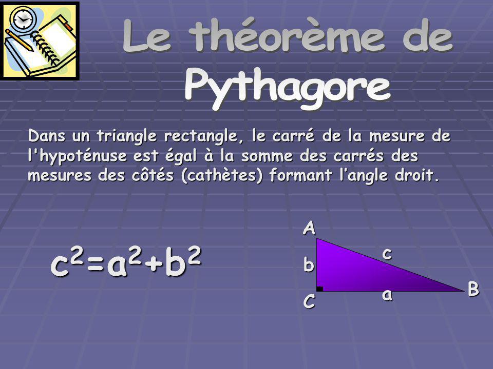 Le théorème de Pythagore Dans un triangle rectangle, le carré de la mesure de l hypoténuse est égal à la somme des carrés des mesures des côtés (cathètes) formant langle droit.