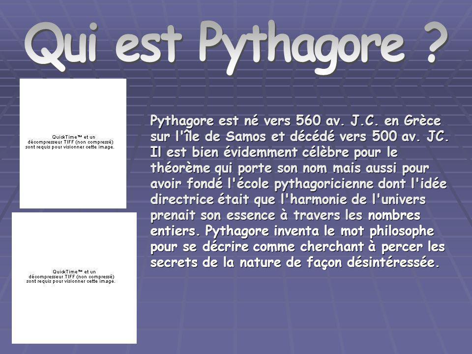 Qui est Pythagore ? Pythagore est né vers 560 av. J.C. en Grèce sur l'île de Samos et décédé vers 500 av. JC. Il est bien évidemment célèbre pour le t