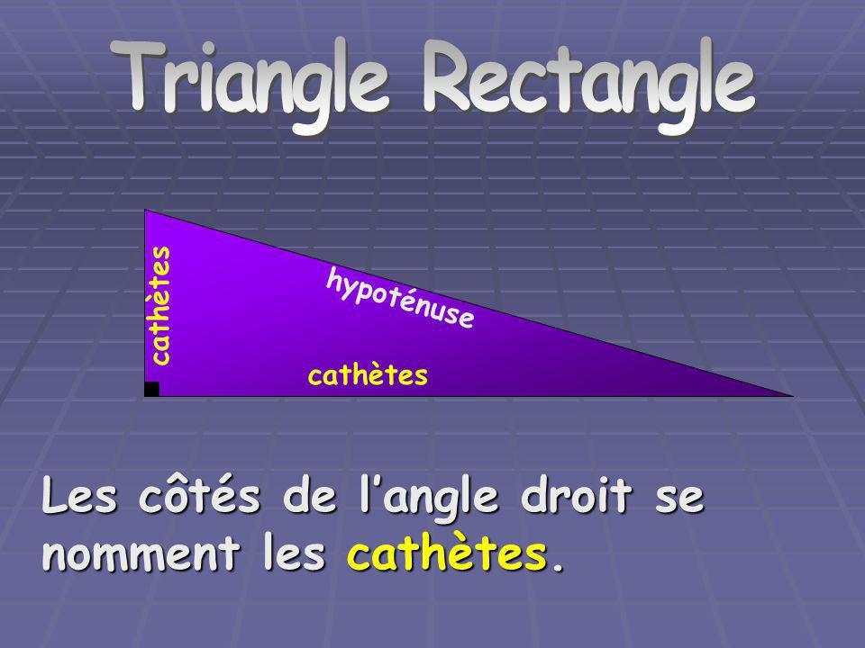 Triangle Rectangle Les côtés de langle droit se nomment les cathètes. cathètes hypoténuse