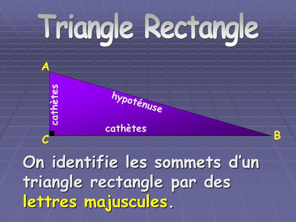 Triangle Rectangle hypoténuse cathètes A C B On identifie les mesures des côtés dun triangle rectangle par des lettres minuscules ( la lettre correspond à celle utilisée pour identifier le sommet opposé au côté mesuré).