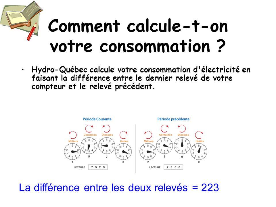 Comment calcule-t-on votre consommation ? Hydro-Québec calcule votre consommation d'électricité en faisant la différence entre le dernier relevé de vo