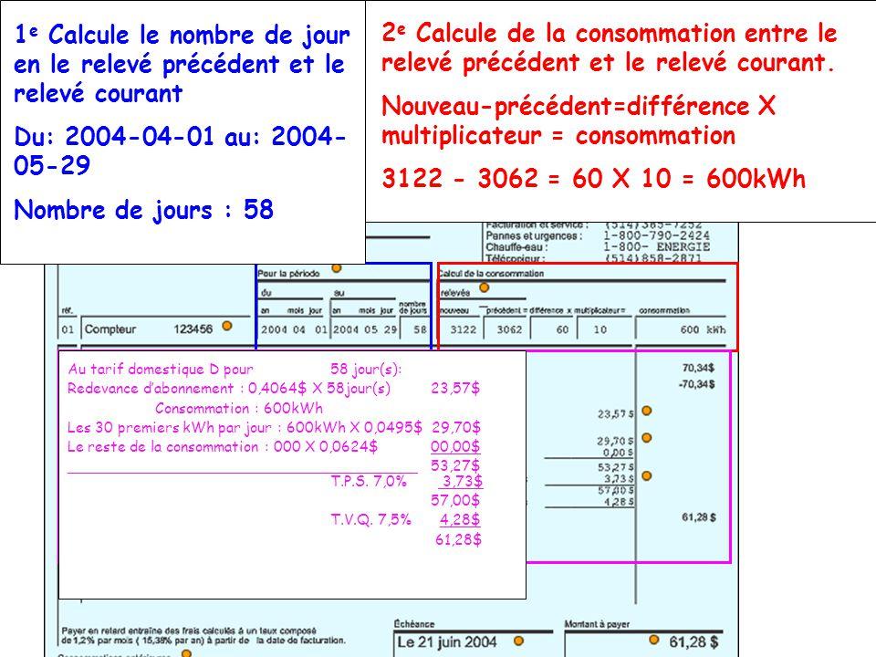 Au tarif domestique D pour60 jour(s): Redevance dabonnement : 0,377$ X 60jour(s)22,62$ Consommation : 3130kWh 60jours X 30 kWh = 1800 kWh Les 30 premiers kWh par jour : 1800kWh X 0,0454$81,72$ Le reste de la consommation : 1330 X 0,0554$73.68$ 178,02$ T.P.S.