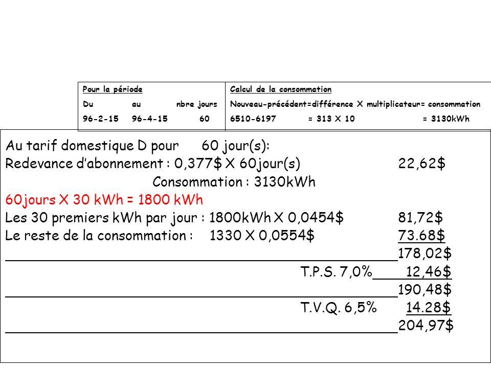Au tarif domestique D pour60 jour(s): Redevance dabonnement : 0,377$ X 60jour(s)22,62$ Consommation : 3130kWh 60jours X 30 kWh = 1800 kWh Les 30 premi