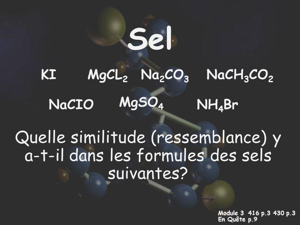 Sel Quelle similitude (ressemblance) y a-t-il dans les formules des sels suivantes? Module 3 416 p.3 430 p.3 En Quêtep.9 NaCIO MgCL 2 KI MgSO 4 Na 2 C
