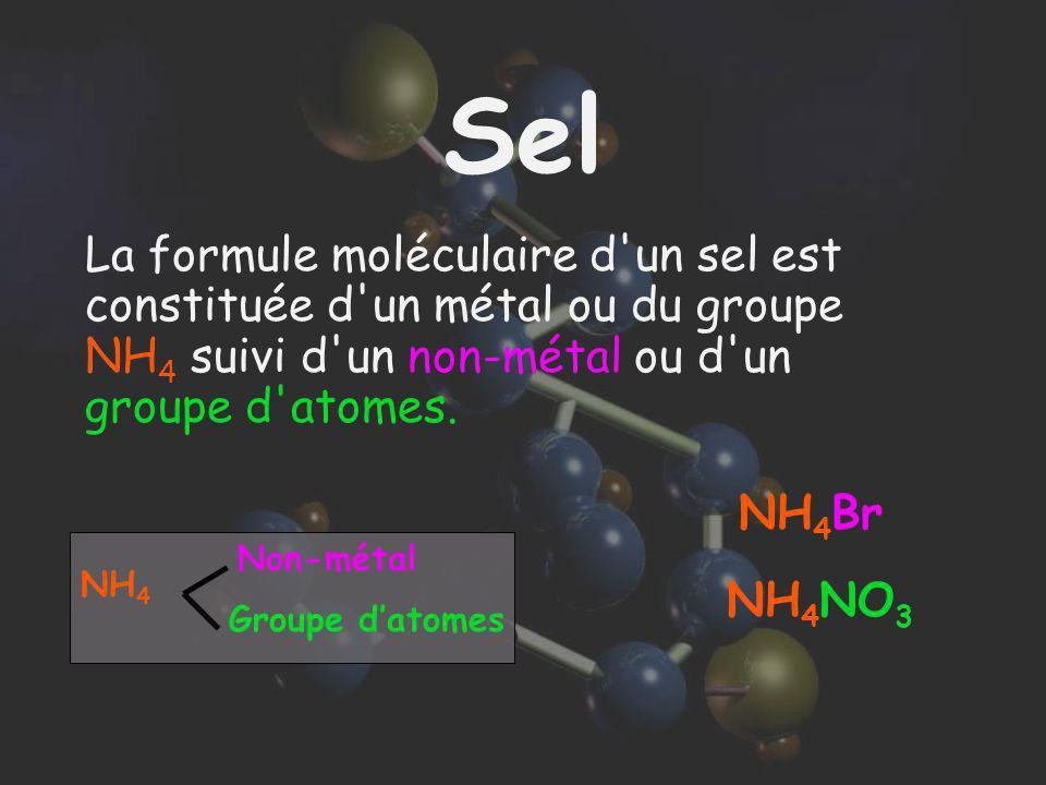 Sel La formule moléculaire d'un sel est constituée d'un métal ou du groupe NH 4 suivi d'un non-métal ou d'un groupe d'atomes. NH 4 Br NH 4 Non-métal G