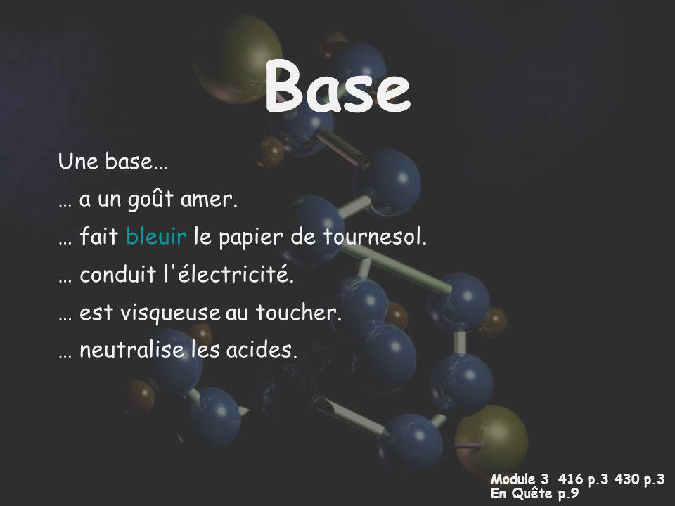 Base Une base… … a un goût amer. … fait bleuir le papier de tournesol. … conduit l'électricité. … est visqueuse au toucher. … neutralise les acides. M