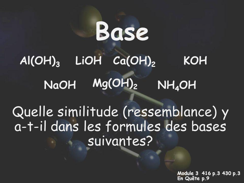 Base Quelle similitude (ressemblance) y a-t-il dans les formules des bases suivantes? Module 3 416 p.3 430 p.3 En Quêtep.9 NaOH LiOHAl(OH) 3 Mg(OH) 2