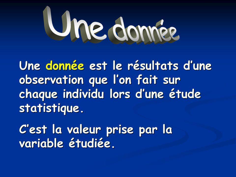 Une donnée Une donnée est le résultats dune observation que lon fait sur chaque individu lors dune étude statistique.