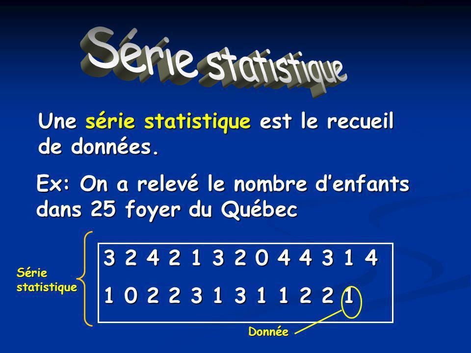 Série statistique Une série statistique est le recueil de données.