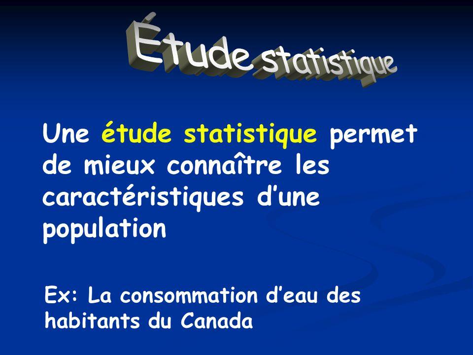 Étude statistique Une étude statistique permet de mieux connaître les caractéristiques dune population Ex: La consommation deau des habitants du Canada