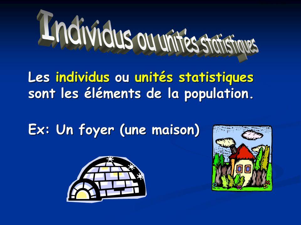 Individus ou unités statistiques Les individus ou unités statistiques sont les éléments de la population. Ex: Un foyer (une maison)