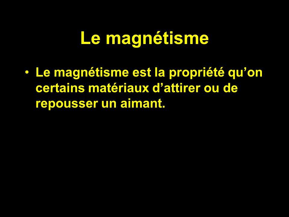 Le magnétisme Le magnétisme est la propriété quon certains matériaux dattirer ou de repousser un aimant.