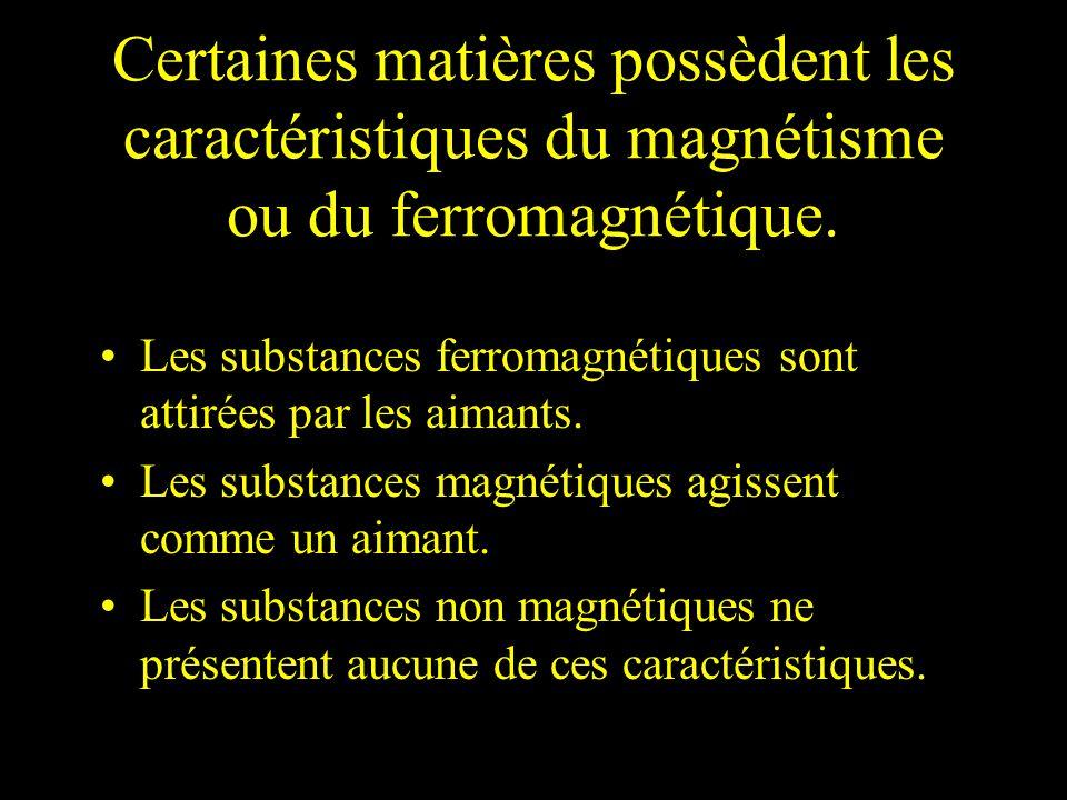 Certaines matières possèdent les caractéristiques du magnétisme ou du ferromagnétique. Les substances ferromagnétiques sont attirées par les aimants.