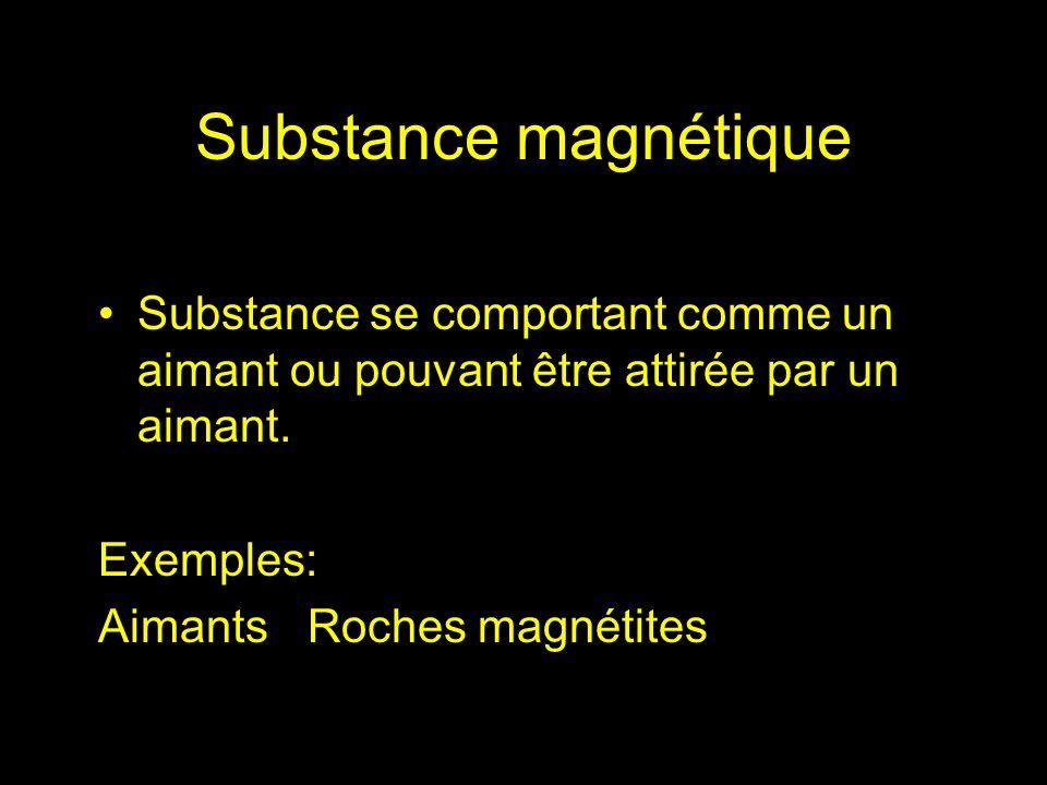 Substance se comportant comme un aimant ou pouvant être attirée par un aimant. Exemples: AimantsRoches magnétites Substance magnétique