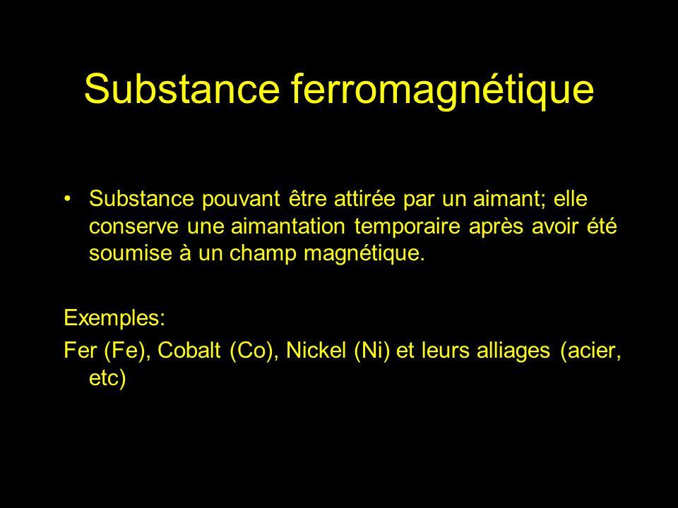 Substance pouvant être attirée par un aimant; elle conserve une aimantation temporaire après avoir été soumise à un champ magnétique. Exemples: Fer (F