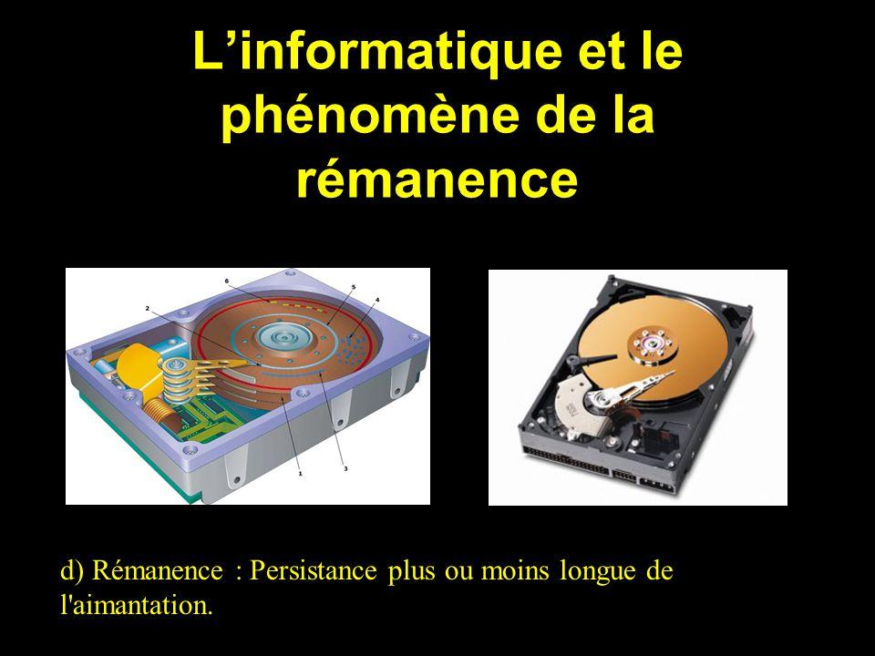 Linformatique et le phénomène de la rémanence d) Rémanence : Persistance plus ou moins longue de l'aimantation.