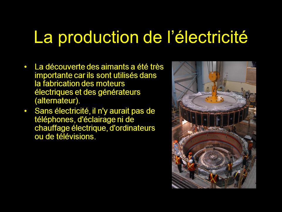 La production de lélectricité La découverte des aimants a été très importante car ils sont utilisés dans la fabrication des moteurs électriques et des