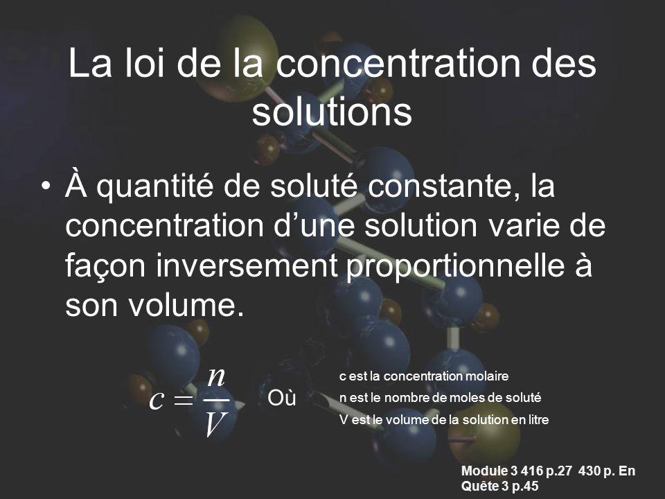 À quantité de soluté constante, la concentration dune solution varie de façon inversement proportionnelle à son volume. c est la concentration molaire