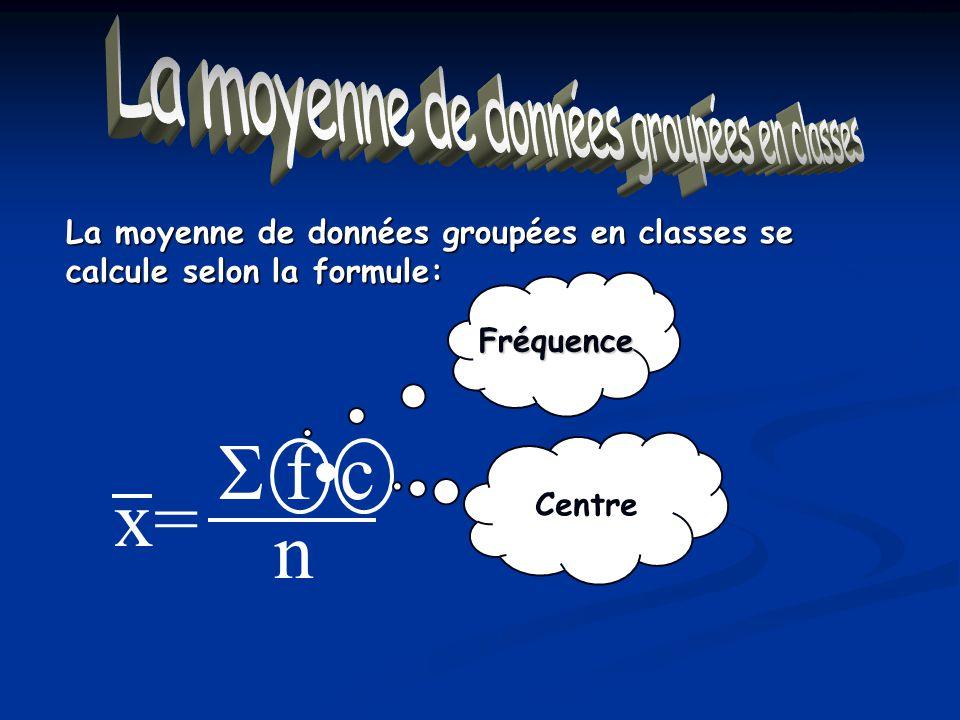 La moyenne de données groupées en classes La moyenne de données groupées en classes se calcule selon la formule: Fréquence Centre fc n x=