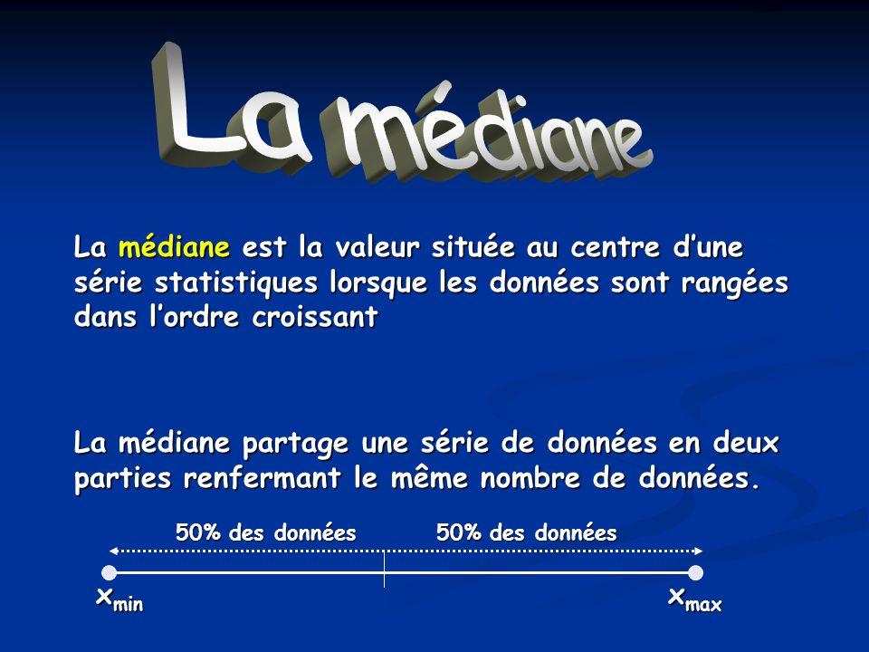 La médiane La médiane est la valeur située au centre dune série statistiques lorsque les données sont rangées dans lordre croissant La médiane partage