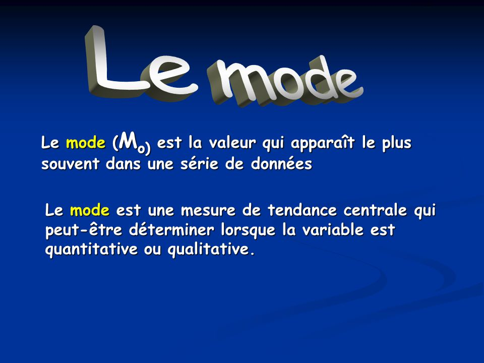 Le mode Le mode ( M o) est la valeur qui apparaît le plus souvent dans une série de données Le mode est une mesure de tendance centrale qui peut-être