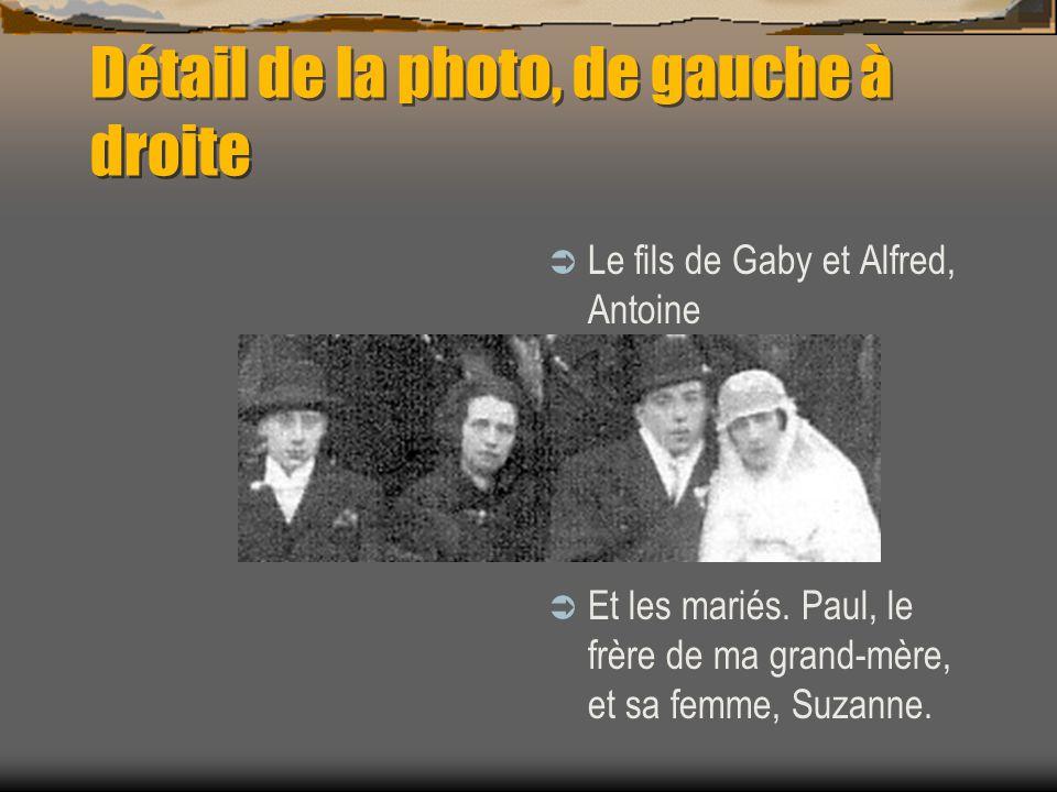 Détail de la photo, de gauche à droite Ma grand mère et son chéri de lépoque, Sa demi-sœur Gaby, et Alfred son mari.