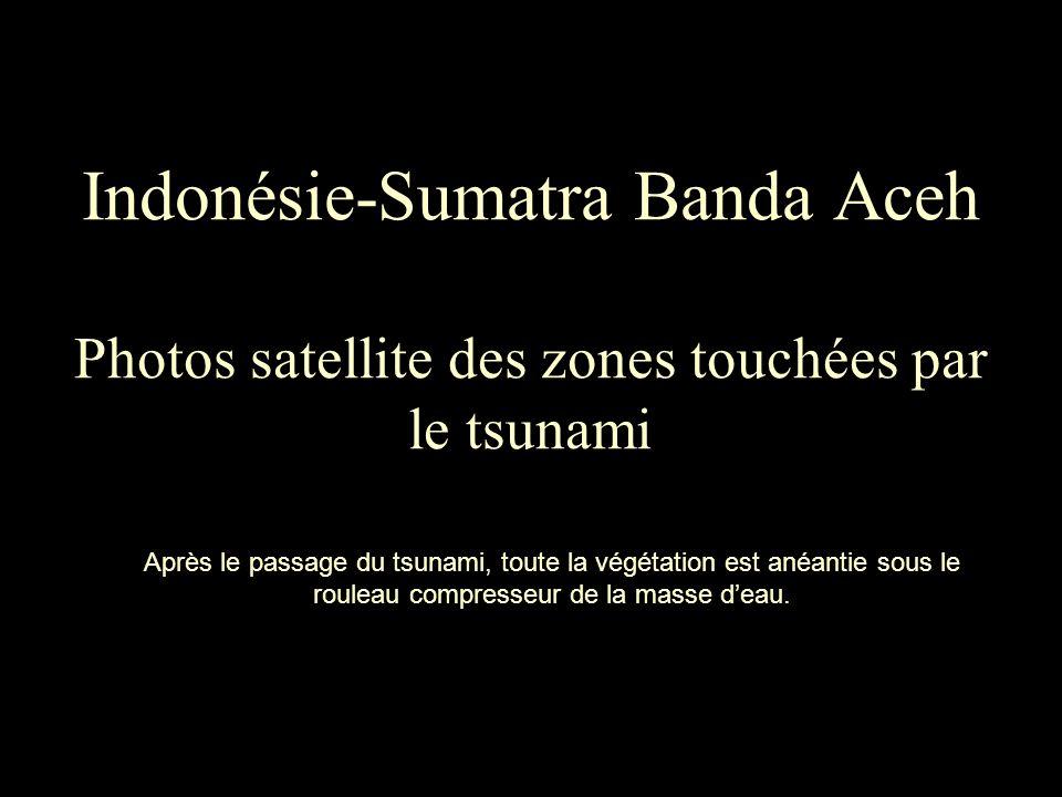 Indonésie-Sumatra Banda Aceh Photos satellite des zones touchées par le tsunami Après le passage du tsunami, toute la végétation est anéantie sous le