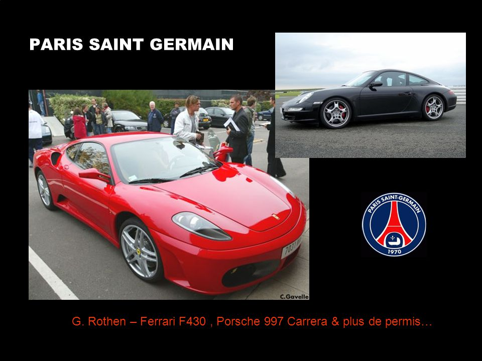 PARIS SAINT GERMAIN G. Rothen – Ferrari F430, Porsche 997 Carrera & plus de permis…