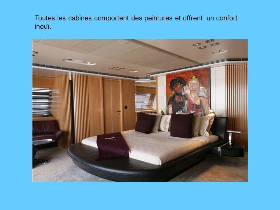 Toutes les cabines comportent des peintures et offrent un confort inouï.