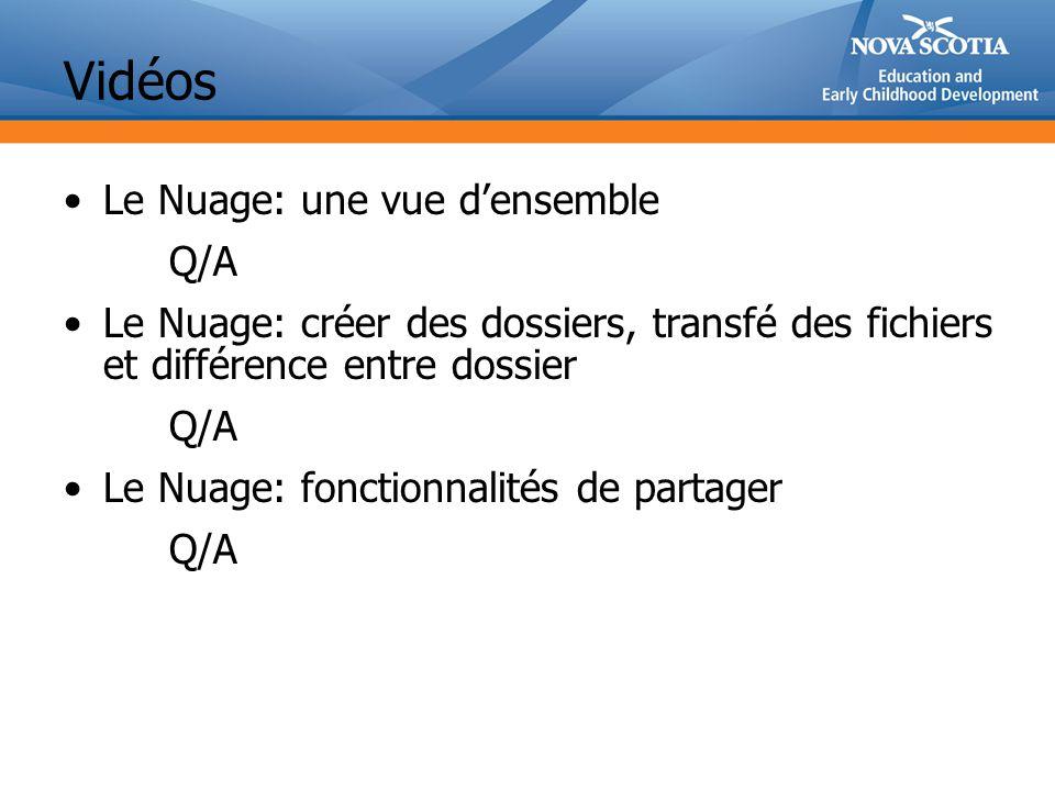 Vidéos Le Nuage: une vue densemble Q/A Le Nuage: créer des dossiers, transfé des fichiers et différence entre dossier Q/A Le Nuage: fonctionnalités de partager Q/A