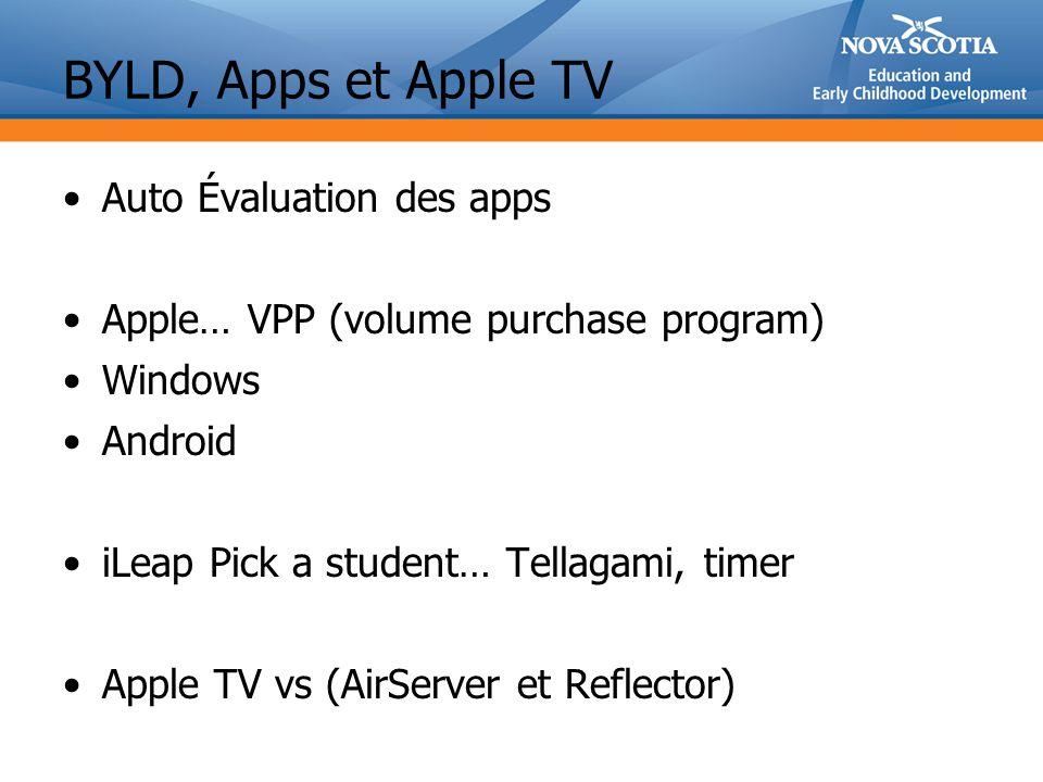 BYLD, Apps et Apple TV Auto Évaluation des apps Apple… VPP (volume purchase program) Windows Android iLeap Pick a student… Tellagami, timer Apple TV vs (AirServer et Reflector)