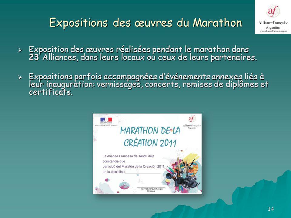 14 Expositions des œuvres du Marathon Exposition des œuvres réalisées pendant le marathon dans 23 Alliances, dans leurs locaux ou ceux de leurs partenaires.